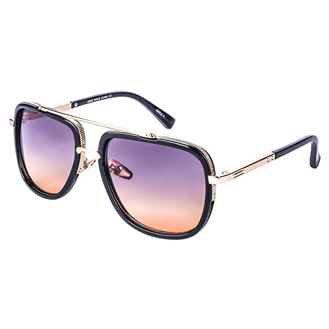 8a24d1d638b Image Unavailable. Image not available for. Color  Oversized Square Sunglasses  for Men Women Pilot Shades Gold Frame ...