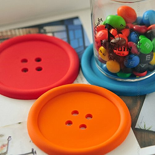 Fantastic Job 10pcs Colorful Cute Non-skid Heat Insulation Silicone Button Coaster Cup Mat