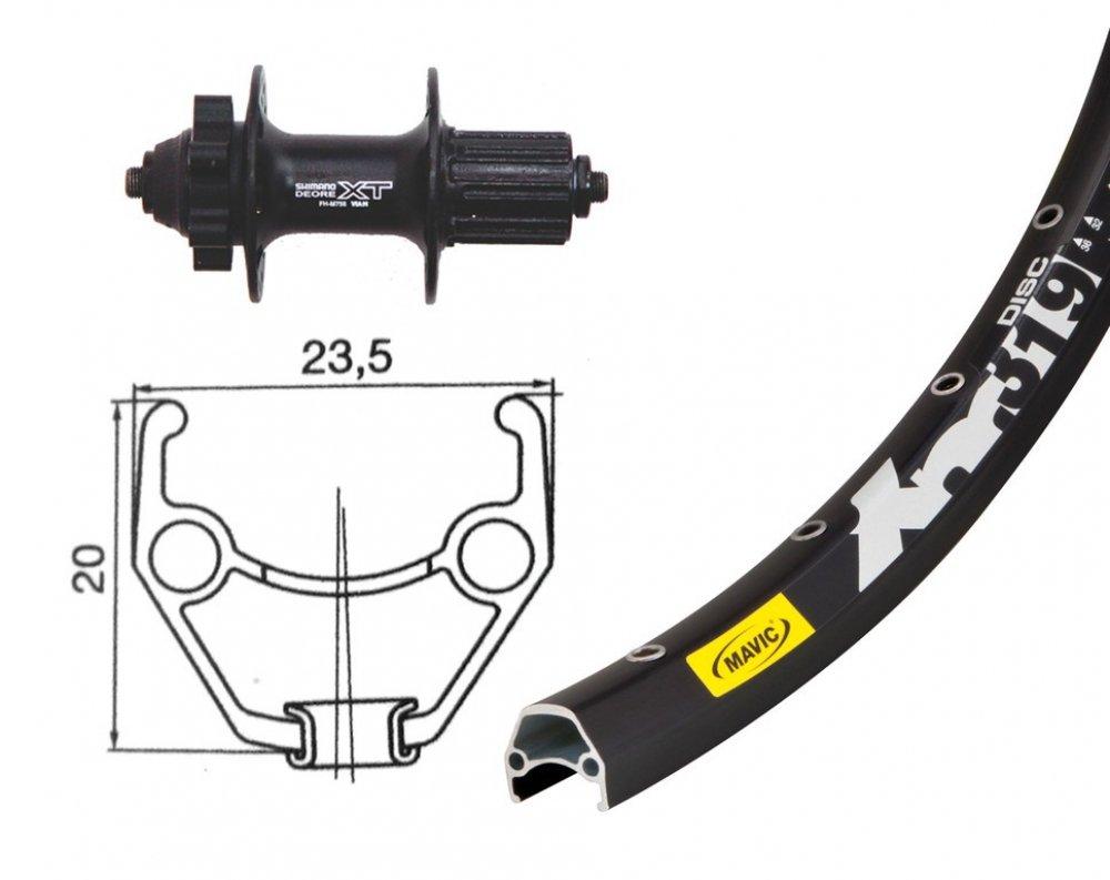 Bike-Parts 26´´ Hinterrad Mavic XM 319 Disc + Shim. Deore XT 6-Loch 8-10-fach (QR)