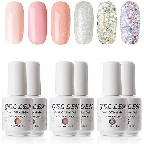 Gellen New Gel Polish Set - Pack of 6 Colors (Pure Glitters Mixed), UV Soak Off Nail Gel Kit