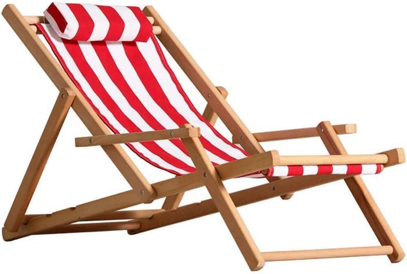 SXYULQQZ Sillón reclinable Plegable balcón al Aire Libre Almuerzo Almuerzo Silla jardín Tomar una Silla Fresca Silla de Playa Silla Vieja de Madera Maciza, Rayas Rojas y Blancas, 2 Estilos / -: