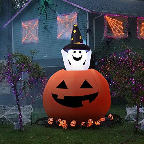 YUNLIGHTS 4FT Halloween Inflatables Ghost Pumpkin Decorations, Outdoor Inflatable Halloween Yard Decorations Blow Up Pumpkin Jack-O-Lantern & Ghost Inside with LED Lights Includes Stakes & Tethers