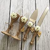 Rustic Wedding Flutes and Wedding Cake Serving Set, Wedding Champagne Toasting Flutes, Wedding Cake Knife and Serving Set, Rustic Wedding Glasses Wedding Gift