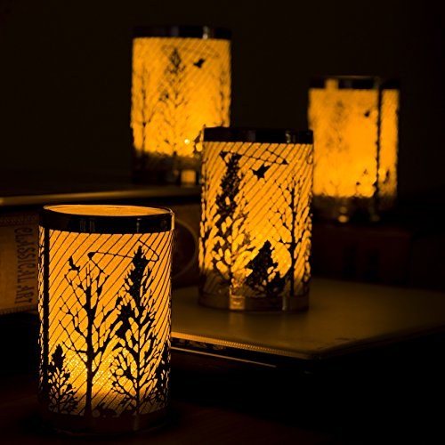 JURICH 2019 Realistic and Bright Flickering Flameless LED Tea Light Battery Candles with Rose Gold Forest Decorative Metal Holder for Seasonal & Festival Celebration,Pack of ()