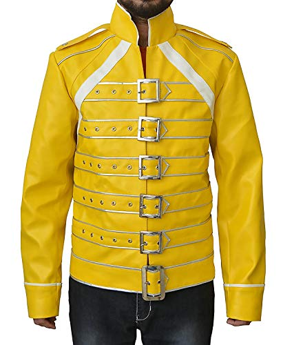 The American Fashion Freddie Mercury Queen Concert Yellow Jacket (Medium, Yellow Pu - Freddie Mercury)]()