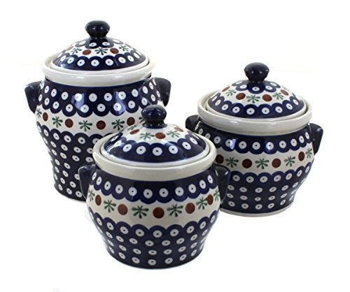 Polish Pottery Nature Canister Set by Zaklady