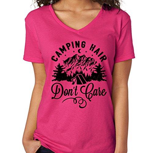 Hair Womens Pink T-shirt - SignatureTshirts Women's V-NeckT-Shirt Camping Hair Don't Care (Medium, Hot Pink)
