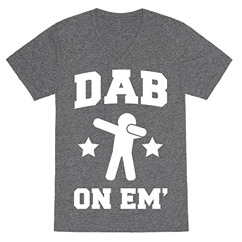 LookHUMAN Dab on Em' Heathered Gray Medium Mens/Unisex V-Neck Triblend Tee by