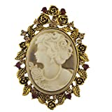 Lux Accessories Antique Tan Cameo Brooch Burnished Gold Flower Leaf Rhinestone