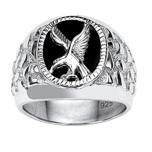 (Men's Black Onyx Eagle Nugget Ring in .925 Sterling Silver Size 9 )