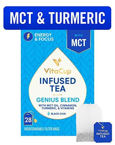 VitaCup Genius Blend Infused Tea 28 ct |Keto|Paleo|Whole 30| Chai Black Tea with MCT, Cinnamon, Turmeric & Vitamins…