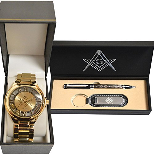 ((Set) Freemason Gold Tone Wrist Watch And Masonic Pen And Keychain Giftpack)