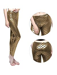 Shiny Fish Scale Mermaid Leggings for Women Pants S-3XL