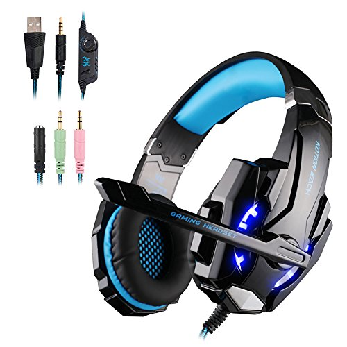 WEIE G9000 Gaming Headset, Surround Sound Gaming Headphone for Xbox One Controller, PC, PS4, Wired Headphone with Crystal Clear Sound, Noise-Canceling Mic & LED Light (BLUE)