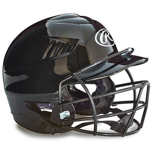 Rawlings Youth Batting Helmet with Face Guard in Black