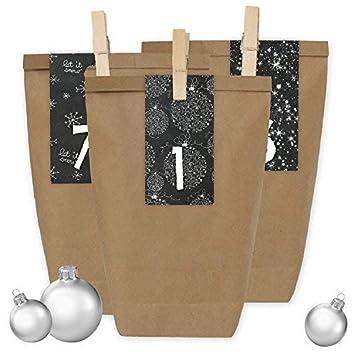 Papierdrachen 24 Bolsas de Papel con Pegatinas + 24 Pinzas de Madera para el Calendario de Adviento - Motivo Rectangular - Blanco y Negro - 33