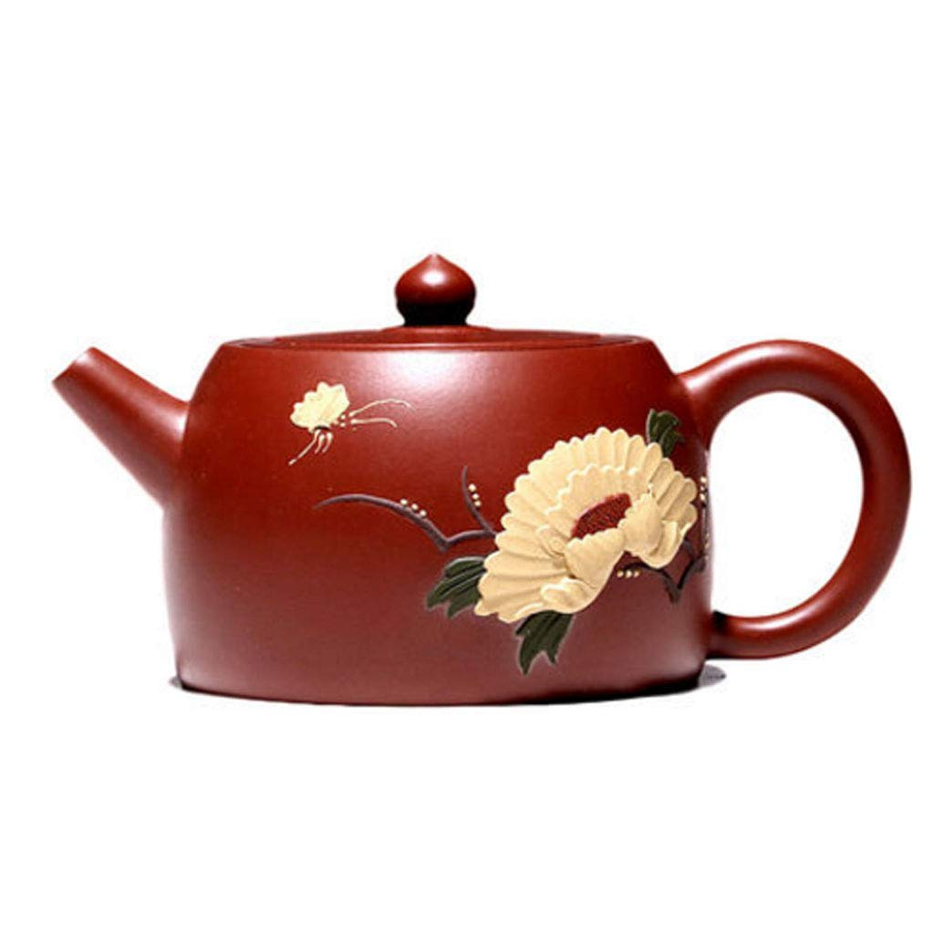 Teapot Pure Handmade Dahongpao Zhu Mudie Love Flower Pot Tea Set Kung Fu Teapot Set Non-ceramic Organ Mine Dahongpao Squirrel Pot (Color : BROWN, Size : 13X8CM) by GQQ (Image #1)