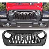 Allinoneparts Front Shark Grille for 2018 2019 2020 Jeep Wrangler JL JLU Rubicon Sahara Sport,Matte Black
