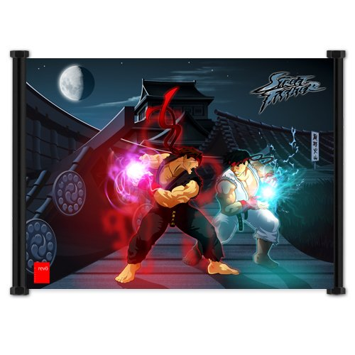 """Street Fighter Anime Game Ryu vs Evil Ryu Fabric Wall Scroll Poster (42"""" x 32"""") Inches. [WP]-StreetFighter- 106 (L)"""