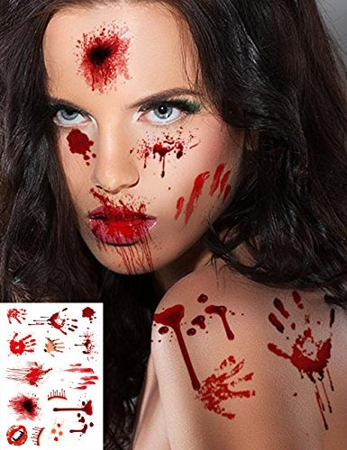 7 Sheets Scar Tattoos Temporary Large – Simulate Body Wound Scab Bloody Stickers, Halloween Parties Spider Pumpkin Realistic Décor, Zombie Cosplay Makeup Horror Injury Art Toys, for Kids Women Men