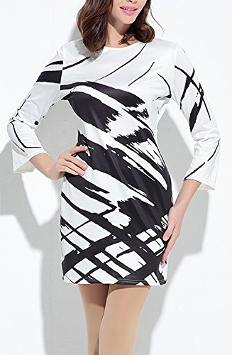 Kleider Damen Rundhals Langarm 3/4 Ärmel Elegant Vintage Drucken Kurz Sommer Etuikleider Sommerkleider