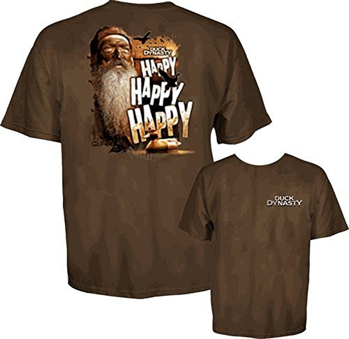 Duck Dynasty Phil Robertson Happy Happy Adult Coffee Brown T-Shirt (Adult Medium)