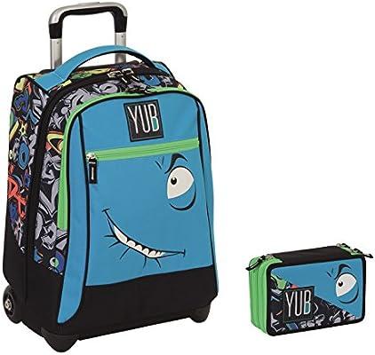 Mochila con ruedas Yub Maxi + estuche con 3 cremalleras, modelo Svalvolati, cara azul y correas retráctilesMochila perfecta para viajar y para la escuela.: Amazon.es: Deportes y aire libre