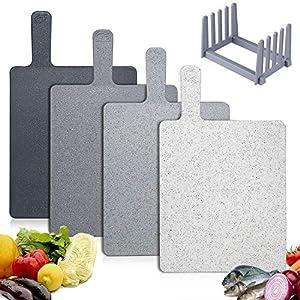 Hodekt Tagliere da Cucina Set di 4, Taglieri con Ripiano e Maniglia, Tagliere Plastica Senza Bpa, può Essere Usato in… 4