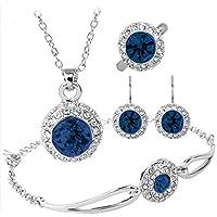 Sapphire Dark Blue Rhinestone Halo Pendant Necklace Bracelet Earrings Ring Jewelry Set