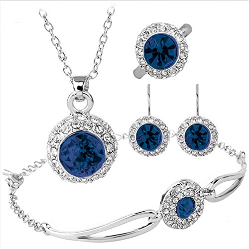 Mother's Day Gift Sapphire Dark Blue Rhinestone Halo Pendant Necklace Bracelet Earrings Ring Jewelry Set Sapphires Gift Set