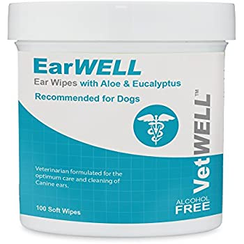 VetWELL Dog Ear Wipes - Otic Cleaning Wipes for Infections and Controlling Yeast, Mites and Odor in Pets - EarWELL by 100 Count