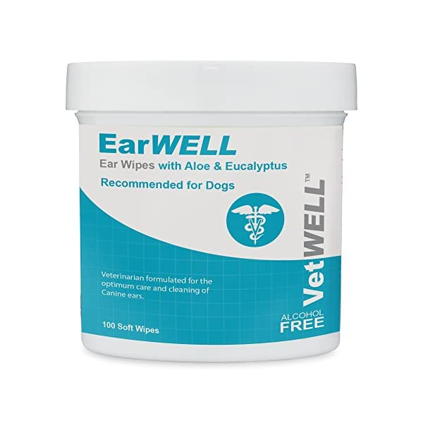 VetWELL Dog Ear Wipes - Otic Cleaning Wipes for Infections and Controlling Yeast, Mites and Odor in Pets - EarWELL 100 Count 1