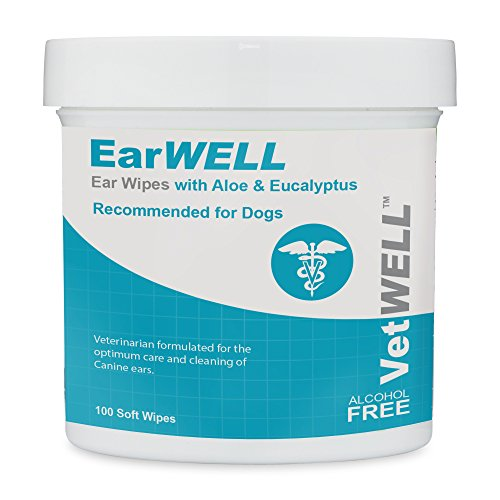 (VetWELL Dog Ear Wipes - Otic Cleaning Wipes for Infections and Controlling Yeast, Mites and Odor in Pets - EarWELL 100 Count)