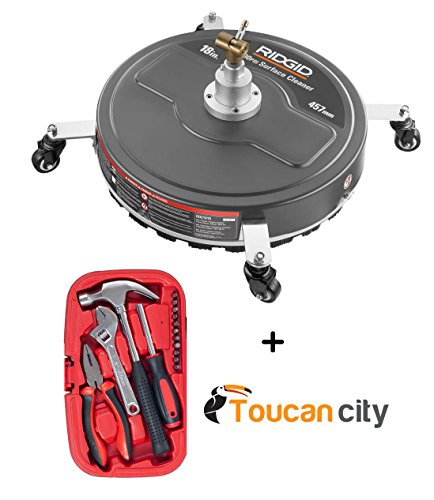 RIDGID Professional 18 in. 4200 PSI Quick Connect Surface Cleaner for Gas Pressure Washers and Toucan City Tool Kit ( 15- Pieces ) by Toucan City