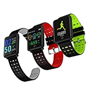 Onbio Touch Screen Smart Watch IP68 Waterproof Fitness Tracker Heart Rate Monitor Sports Bracelet Blood Pressure Detection Health Pedometer Wristband