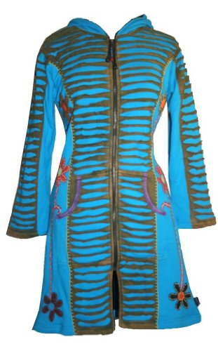 323 RJ Patch Funky Cotton Bohemian Long Jacket [Turquoise; S/M] by Agan Traders