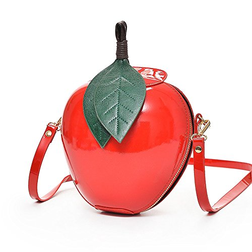 Red Apple Purse - Women's Fashion Apple Shape Handbag Hosamtel Ladies Zipper Shoulder Bag Messenger Bag (Red)