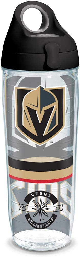 Tervis NHL Vegas Golden Knights Top Shelf Insulated Tumbler with Wrap and Black with Gray Lid, 24oz Water Bottle, Clear