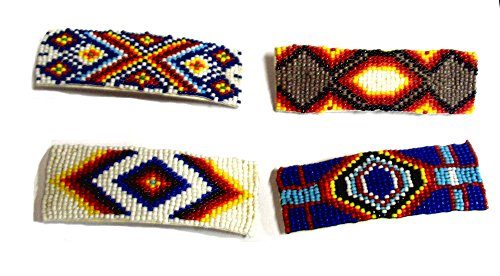 Roger Enterprises Seed Bead Hair Barrette in Native American Southwestern Style~set of 4