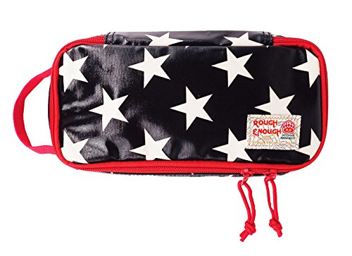 Rough Star - Rough Enough Heavy Duty Glossy Canvas Fashion Star Portable Travel Makeup Pouch Tool Carry Bag Pencil Case Organizer Storage with Zipper for Accessories Supplies of Macbook Cellphone Kids Girls Women