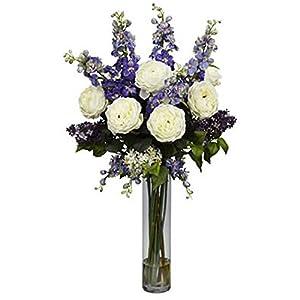Rose, Purple Delphinium and Lilac Silk Flower Arrangement 11