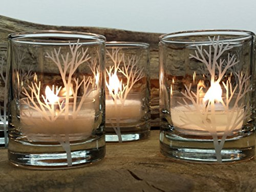 Engraved Candle Holder (Set Of 4 Clear 'Tree Branch' Engraved Glass Candle Holders)