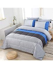 PERFEMET Blue Striped Comforter Set Full/Queen Size 3 PCS Patchwork Striped Beding Quilt Set Soft Microfiber Down Alternative Comforter Bedding Set for Boys/Mens