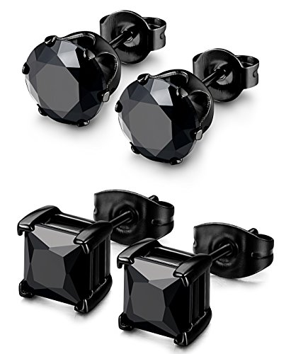Besteel 2 Pairs Stainless Steel Mens Womens CZ Stud Earrings Pierced Earrings Black 20G 8mm (Studded Earrings Diamond Black)