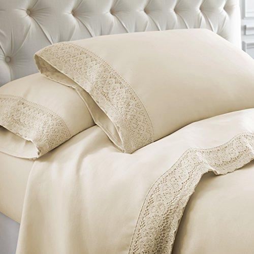 (Amrapur Overseas 4-Piece Crochet Lace Bed Sheet Set, Queen, Linen)