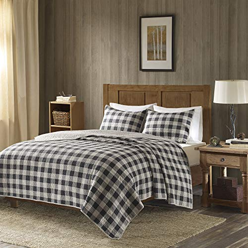 (Woolrich Buffalo Check Full/Queen Size Quilt Bedding Set - Gray, Checker Plaid - 3 Piece Bedding Quilt Coverlets - 100% Cotton Bed Quilts Quilted Coverlet)