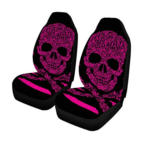(INTERESTPRINT Custom Pink Skull Stripe Car Seat Covers for Front of 2,Vehicle Seat Protector Fit Most Car,Truck,SUV,Van)