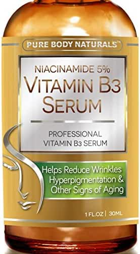 Niacinamide Vitamin B3 Cream Serum 5% - 1 Oz - Visibly Tightens Pores, Reduces Hyperpigmentation, Superior Moisturizing to Promote Visibly Younger Skin