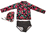 #5: Baby Kids GirlsTwo Pieces Long-Sleeve Floral Print Rash Guard UPF 50+ UV Swimsuits With Caps
