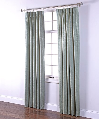 Blue Pleated Drapes (Stylemaster Home Products Renaissance Home Fashion Portland Pinch Pleated Foam Back Drape Pair, 2 by 24 by 84-Inch, Spa)